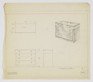 Four-drawer chest; top drawer, narrower than lower three, overlaps vertical frame of chest; three lower drawers, set within frame, expose frame's edge.  Chest is flush with floor. Two knobs, positioned left and right, per drawer.