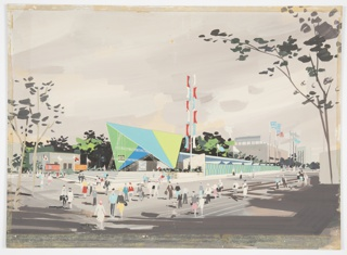"Design for the United States pavilion, sponsored by the U.S. Department of Commerce, at the 1960 Thessaloniki International Fair. Exterior perspective shows pavilion situated on corner lot with figures populating surrounding street, sidewalk, and stairway to structure. At center, a blue and green A-frame structure is perched on its corners and supported by white structuring framing. At entrance, ""USA"" sign supported by poles running from ground to overhanging eave. Beyond the A-frame entry portal, structure is long and low with additional vertical structural supports receding backward; at right, a series of triangular rooves can be seen behind a wall of green and blue alternating panels. Also at right, an angled masonry wall jags up behind a planted bed with retaining wall; form this garden rises a pole with rectangular panels, each with one parabolic-curved outerside edge, in alternating white, blue, and terra cotta. Farther right, Greek and American flags wave with others in the distance. At left, additional flags, including an additional American flag, wave in front of a square gray structure."
