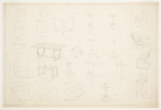 Twenty-two designs for metal furnishings, including console tables, occasional tables, seating, dining table, book ends, and a vanity. Designs feature streamlined aesthetic and were likely intended to be realized in Metallon, a nickel-silver hybrid material. Inscribed with Deskey Numbers (upper left to lower right): 6266, 6267, 1618, 6254, 6247, 6179, 6261, 6206, 6260, 6255, 6253, 6181, 6200, 6196, 6251, 6244, 6216, 6265, 6264, 6263, 6243, 6209