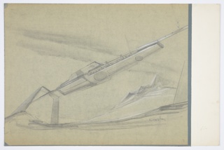 "Design for monorail for MacArthur Airport, Long Island, New York. Perspective shows monorail in landscape; at right, white-accented, jagged mountains rise up from landscape with additional mountains receding into background at lower center. At left, inverted, angular U-shaped structure supports monorail, which extends diagonally across the plane, from which vehicle is suspended. Vehicle is oblong with wide fins on either side at rear, large glass windows above, and several circular and rectangular hatches below. Left wing inscribed with ""10"". Signed ""R Heston"" in graphite at lower right."