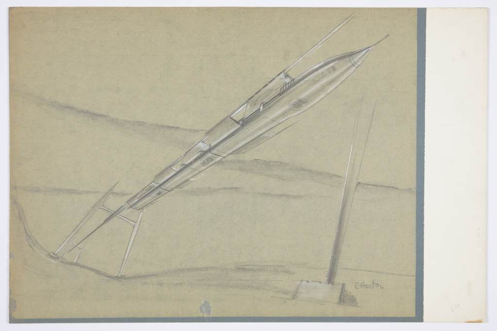 """Design for monorail for MacArthur Airport, Long Island, New York. Perspective shows monorail in landscape. At left, stylized H-shaped supports recede into background. Monorail track suspended from supports and extends diagonally across surface. Below the rail, missile-like oblong conveyance with pointed nose is suspended; its wings, of which there are three pairs, jut out at a slight incline from main body. Shallow windows are found at top of vehicle, while below numbers 3, 6, and 5 (circled) alternate with what appear to be cargo hatches across its lower plane. Near nose, fuselage also inscribed with """"NXO P3""""."""
