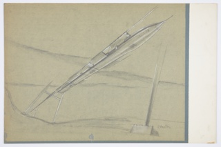"Design for monorail for MacArthur Airport, Long Island, New York. Perspective shows monorail in landscape. At left, stylized H-shaped supports recede into background. Monorail track suspended from supports and extends diagonally across surface. Below the rail, missile-like oblong conveyance with pointed nose is suspended; its wings, of which there are three pairs, jut out at a slight incline from main body. Shallow windows are found at top of vehicle, while below numbers 3, 6, and 5 (circled) alternate with what appear to be cargo hatches across its lower plane. Near nose, fuselage also inscribed with ""NXO P3""."