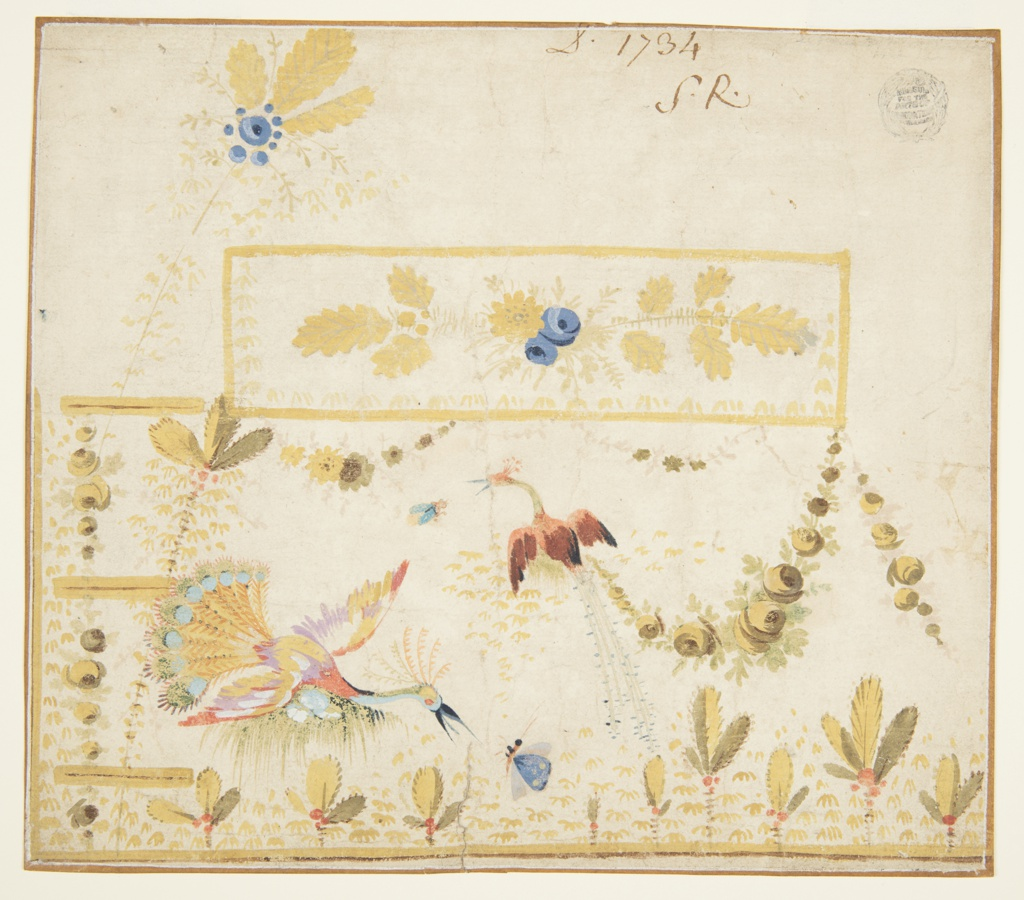 Design for the embroidery of the left bottom part of a man's waistcoat or gilet featuring a pocket. The design features two fantastical peacocks preying for insects, plants, and festoons. Blue flowers and yellow leaves decorate the rectangular pocket flap, and a branch with blue flowers and yellow leaves rises above and to the left of the flap. Design includes buttonholes on the left. Verso: five yellow birds with yellow leaves rising from two of them.
