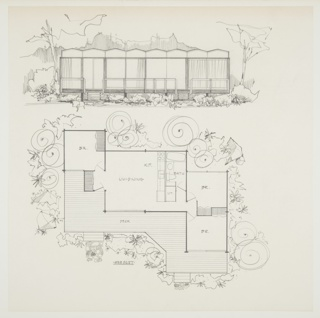 "Design for prefabricated house. Above, front elevation shows structure in landscape, with trees, shrubbery, and hills/mountains behind. Angular, undulating roofline positioned above eight modules, most of which are large plate-glass windows with curtains. Deck at front with open railing and steps on either side leading to lawn. Below, house shown in plan which features: bedroom, living/dining room and kitchen, bathroom, two additional bedrooms, and deck. Inscribed with room designations as well as ""625 sq. ft."" In plan, flagstone paths also visible."