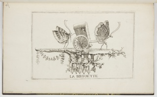 Bound Print, Plate 2 (Suite 1), La Brouette (The Bath Chair), Essai de papilloneries humaines (Ideas for Scenes with Butterflies Masquerading as Humans)