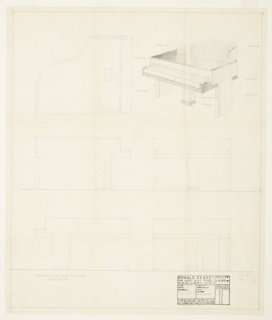 Design for grand piano for Steinway & Sons for the Century of Progress International Exposition in Chicago , 1933-34. At upper right, perspective shows piano in Macassar ebony and black lacquer lid and keyboard frame. Supports are planar pedestal legs that support piano on either side of keyboard; between these, rectangular leg with pedal mechanisms. At rear, additional wide leg provides support. Overall linear object profile. Also shown in plan, front, rear, and side elevations. Inscribed with Deskey No. 7203.
