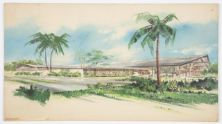 "Design for Half Moon Bay Hotel on Montego Bay in Jamaica. Low structure sweeps across width of illustration board: main volume runs almost perpendicular to viewer and has shallow-sloped roof whose over at right supported by wood beams and tresses. From this volume extends a covered carport with similar roof, possibly in glass or other translucent material, and supported by slender inverted tripods. To the left of this, a retaining wall extends to the edge of the picture plane, half-concealing a perpendicular wing with lower, similar roof and no overhang at front. At center, a more interior garden wall with regular, diamond-like apertures. Landscape is lush with sod, shrubbery, palms, and deciduous trees. Circular driveway. Signed ""S C Reese"" in graphite at lower right."