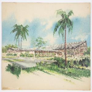 """Design for Half Moon Bay Hotel on Montego Bay in Jamaica. Low structure sweeps across width of illustration board: main volume runs almost perpendicular to viewer and has shallow-sloped roof whose over at right supported by wood beams and tresses. From this volume extends a covered carport with similar roof, possibly in glass or other translucent material, and supported by slender inverted tripods. To the left of this, a retaining wall extends to the edge of the picture plane, half-concealing a perpendicular wing with lower, similar roof and no overhang at front. At center, a more interior garden wall with regular, diamond-like apertures. Landscape is lush with sod, shrubbery, palms, and deciduous trees. Circular driveway. Signed """"S C Reese"""" in graphite at lower right."""