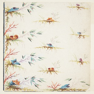 Fantastic flowers in blue, orange, and purple, some resembling sea-shells, are attached to root tendrils with branches and leaves. Verso: sketch of a waistcoat pocket with floral decoration.