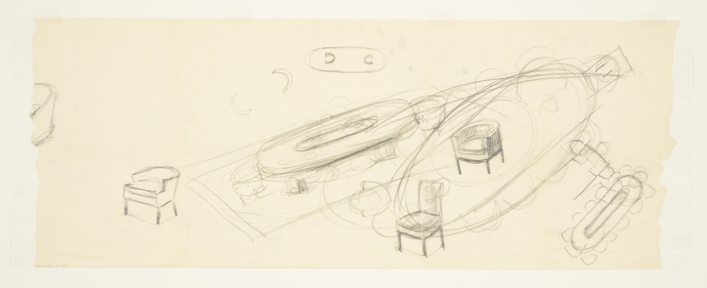 Rough designs for Harold Spurrier Anderson dining room, Bel Air, California. At lower right, design for ovoid dining table surrounded by chairs. Just above, partial sketch of rectangular table in plan, above which is an additional avoid shape surrounded by chairs superimposed over two designs for dining chairs: one with arms and the other without. At center, perspective shows ovoid table seen in lower right resting on two piers with arm chairs at either end. Above, plan indicates that piers are U-shaped. Additional chair designs in plan and perspective found throughout, including at center of torn left edge.