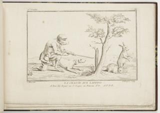 Bound Print, Plate 1, La Chasse au Lapins (Rabbit Hunt), Nouveau Livre de Singes (New Book of Monkeys)