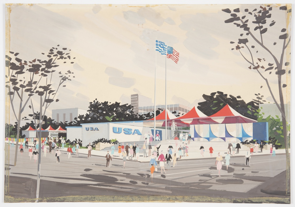 "Design for the United States pavilion, sponsored by the U.S. Department of Commerce, for the 1960 Thessaloniki International Fair. Exterior perspective shows pavilion situated on corner lot; figures populate the surrounding streets, sidewalk, and steps leading up to the structure. At right, series of parabolically-curved panels, alternating blue and indigo, project outward from on an off-white background (possibly stucco) with a solid blue panel at far right. To the left, this wall opens up to provide access to pavilion interior, supported by clusters of rods and capped by white and red tent-like roof. A fountain spouts in front of entryway, and Greek and American flags wave to its left. Further left, rectilinear, single-story structure juts out and is adorned with letters spelling ""USA"" in blue on front and side. This structure appears to extend leftward from the rear, with additional red and white tented area at far left. In the background, modular/International-Style structures rise from behind trees."