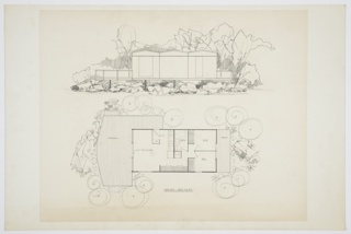 Design for prefabricated house. Above, front elevation shows structure in landscape, with trees, shrubbery, and hills/mountains behind. Angular, undulating roofline positioned above three modules with a narrow door at right and a wide, possibly sliding door at left. Wood deck on either side with open railing. Structure floats atop a series of piloti. Below, house shown in plan which features: left wrap-around deck, living/dining room, kitchen, bathroom, utilities closet, two bedrooms, and right deck. Below, dimensions 15x30 – 450 sq. ft. indicated and double-underlined.