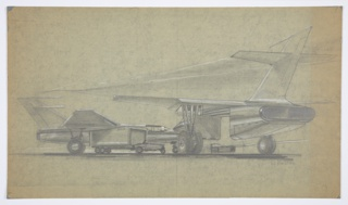 Design depicting monorail cargo system for MacArthur Airport, Long Island, New York. Exterior perspective shows two grounded airplanes (at left, plane seen from the side while at right, from left rear) involved in process of unloaded modular cargo bins. A small vehicle at lower center, somewhere between a tractor and an automobile, tows rectilinear storage bin from left plane. In the distance, at lower right, additional cargo bins can be seen directly below a monorail track, in white, that extends rightward out of the picture plane.