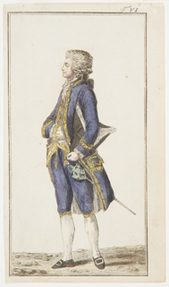 Engraved, hand-colored fashion plate featuring a full-length figure of a man wearing a white wig, facing left in profile. He wears a purple coat and breeches with yellow trim, a white waistcoat with yellow trim, and a white cravat. His right arm is positioned across his body, with his right hand in his waistcoat pocket. He holds a black hat with white fringe under his left arm. Appeared in Journal des Luxus und der Moden (The Journal of Luxury and Fashions), Volume 1, No. 2, February 1786, after p. 96.