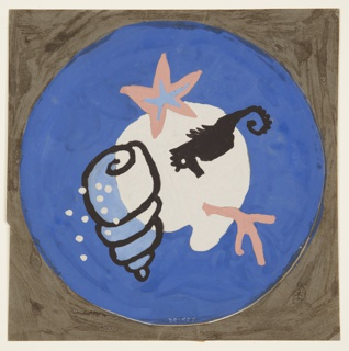 "Design for bathroom mat with sea motif. Circular format with blue background at the center of which a white biomorphic shape (possibly a sand dollar?) is superimposed by a starfish, a seahorse, a length of coral, and a conch shell with dots, all in hues of salmon, cornflower, black, lighter blue, and white. Signed ""DESKEY"" in white pastel at lower center."
