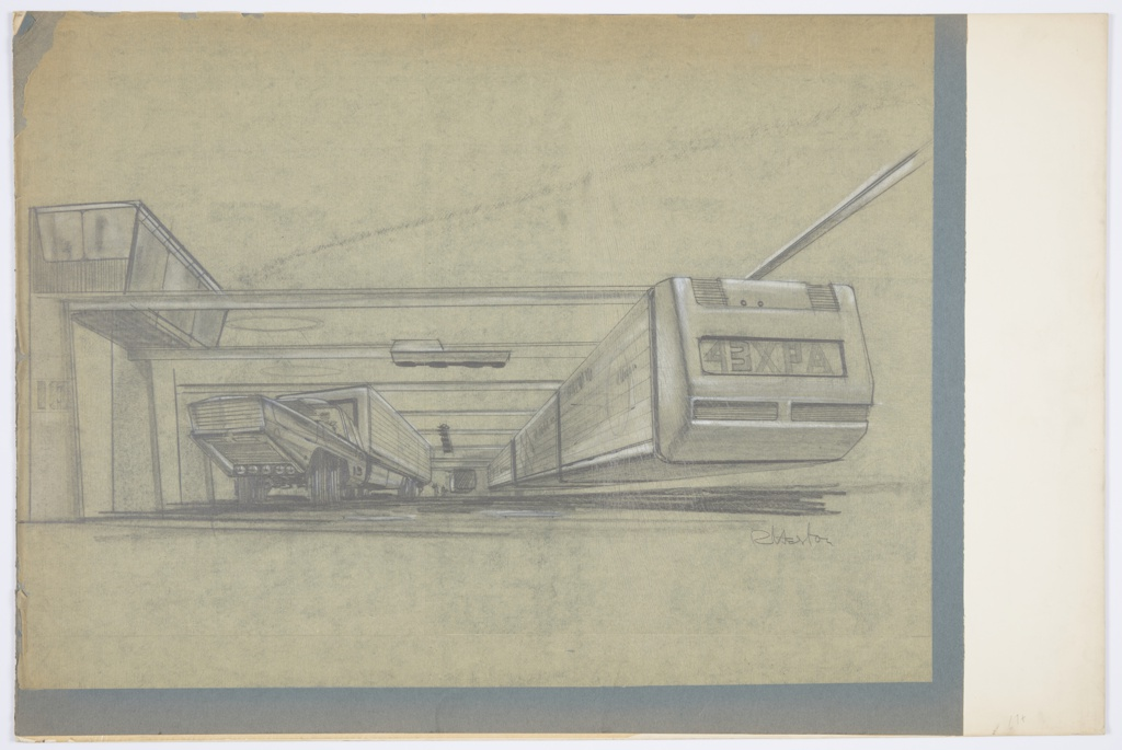 """Design for monorail station for MacArthur Airport, Long Island, New York. Perspective describes monorail terminal or depot wherein a monorail train is suspended from its track at right while at left, a stylized tractor bed transports modular cargo bins. At left, vertical pillars support beams that traverse the depot above; at center, there appears to be a smaller, secondary vehicle or utility device suspended. At left, an enclosed building is perched atop the pillars/beams, perhaps some sort of control or observation center. In the background, at center, an additional monorail is suspended and surrounded by figures. Signed """"R Heston"""" in graphite at lower right."""