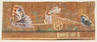 "A chariot drawn by a butterfly and driven by another is followed by a third butterfly at the back. The butterflies are depicted in various colors and are all in profile facing left. An unfinished geometrical repeat pattern in yellow is seen below. A  few numbers and letters in black ink are dispersed on the butterflies and the chariot. The design for the waistcoat or gilet is carried out in the manner of Charles-Germain de Saint-Aubin's ""Les Papilloneries Humaines."""