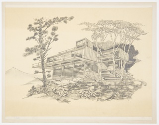 "Design for prefabricated house, exterior perspective in landscape. At lower right, masonry retaining wall with landscape consisting of leafy shrubbery, a conifer tree at left and deciduous trees at right. Terraced steps lead up to modular prefab house with lower level consisting of three bays of upper ribbon windows and horizontal siding. Main level is rectangular volume with vertical siding and front deck with railing cantilevered over lower level. At right, second story floats atop cantilevered supports. Third story at center above main volume with additional railed deck space. Landscape recedes into darkness at right with one mountain in background at left. Signed ""R Heston '71"" in graphite at lower right."