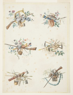 Six designs for hunting trophies. Upper left: French horn, rifle, dead pheasant and rabbit, along with wild flowers; upper right: arrows, blue quiver, a live pheasant, and wild flowers; center left: pink and gold quiver with arrows, a rifle, and hanging canteen, and a bird, surrounded by wild flowers; center right: stag's head, pickaxes, an arrow, a French horn, a net, and some wild flowers; lower left: pickaxe and fasces, netting, French horn, canteen, leather pouch, arrow, staff, and twigs with leaves; lower right: dead rabbit, pheasant, and greenery in a basket, rifle, laurel garland supported by a staff.