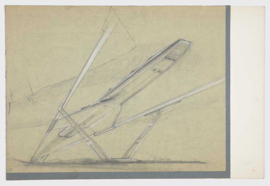 """Design for monorail for MacArthur Airport, Long Island, New York. Perspective drawing of conceptual """"monorail"""" that actually employs two parallel tracks. These are seen extending forward from background (lower left) where three V-shaped supports elevate rail. In foreground, closer depiction of supports shows convex base and greater detail of ladder-like structure of each arm, which terminates at top in broad wings that meet the rail. The conveyance itself is oblong, with rear wings extending from the bottom of fuselage to meet tracks and glide along them. Vehicle appears aerodynamic with low glass windows at top and various hatches across bottom and possibly a conveyer belt at front. At center right, fuselage inscribed with """"NOS X5"""" and """"13 44."""" Signed """"R Heston"""" at lower right."""
