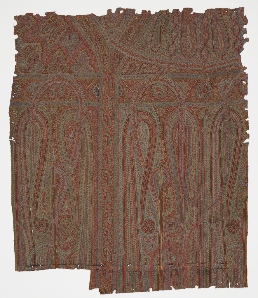 Shawl fragment embroidered in multicolored wool, divided into sections, and filled with elongated paisley motifs.