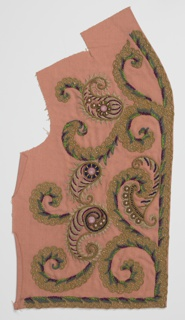 Embroidered bands worked in colored wools, silks and beads arranged as border with paisley shapes and scrolls on pink rayon ground.