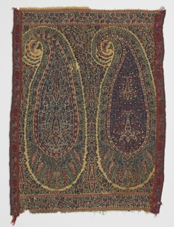 Shawl fragment with two repeats of a multicolored cone motif with a border above and below. Multicolored band is stitched to each side.