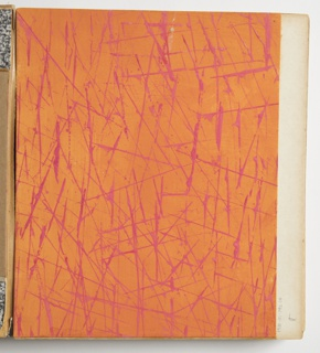 Drawing, Design for Plastic Laminate: Orange with Irregular Pink Lines