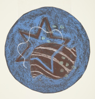 Design for bathroom mat with sea motifs. Blue ground against which starfish, shell, undulating form, and bubbles are superimposed. Hues of brown, blue, aqua, and white.