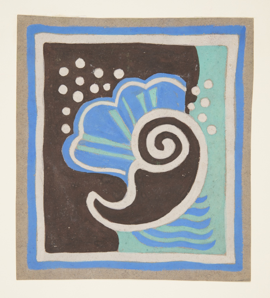 Drawing, Bathroom Mat Design with Sea Motif for  Abby Aldrich Greene Rockefeller Apartment, 10 West 54th Street, New York, NY