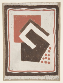 "Design for rug with abstract, geometric forms. Rectangular format with dark brown, cream, and terra cotta border surrounding cream ground on which terra cotta square and angular brown forms are superimposed with one another; terra cotta dots accent lower right. Cream-colored fringe shown on short ends of rug. Signed ""D"" in graphite, lower left."