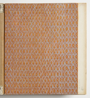 Design for plastic laminate. All-over repeat pattern on terra cotta gouache ground. Rectangular grid in cornflower blue overlaid with vertical, undulating lines in the same hue; these form repeating lens pattern; every other vertical register accented by gold dots. Several areas show losses or speckling that indicates original ground was hot salmon color.