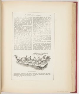 Article clipping from Scribner's Magazine on Frederick Stuart Church and his creative process. Page 757 has one illustration in the lower center of chickens eating. Page 758 has one illustration upper left of a rag doll.