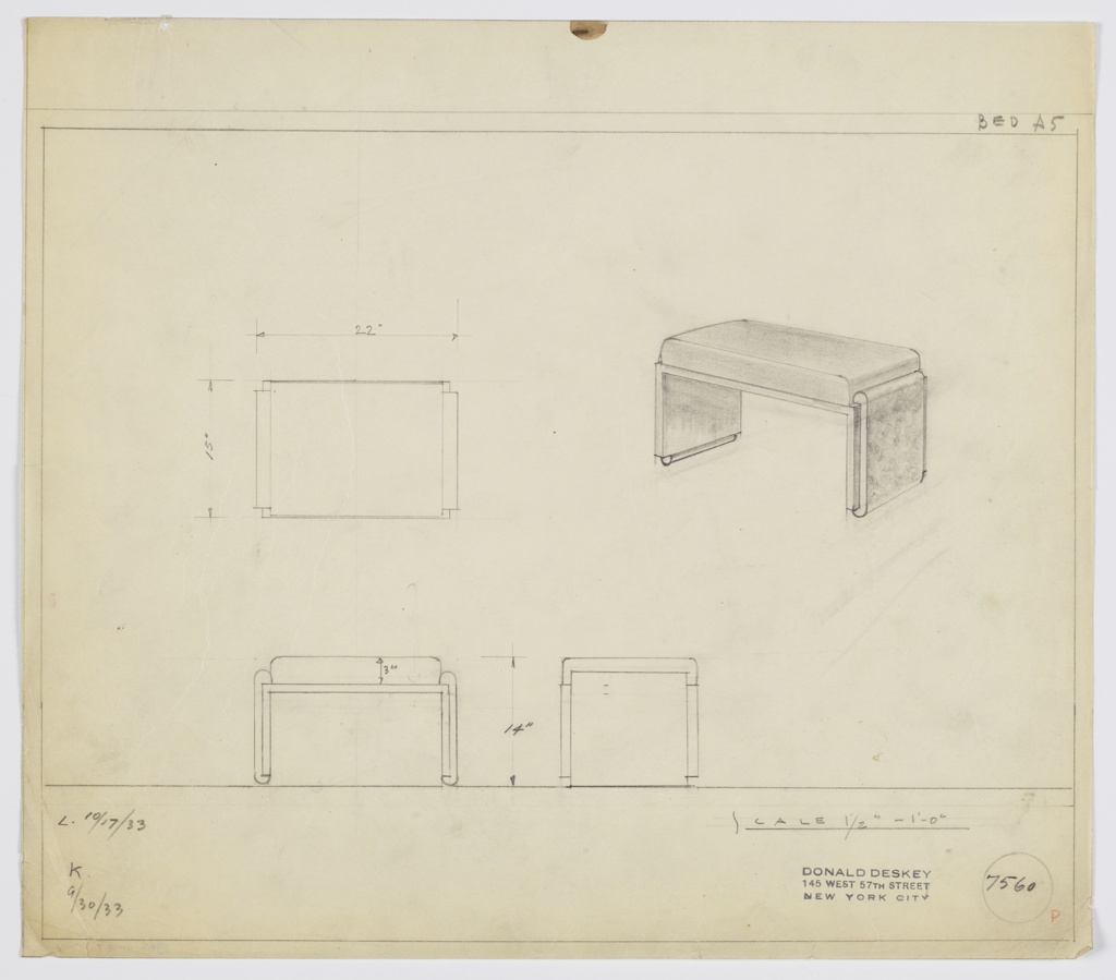 Drawing, Stool: Wood, Upholstered