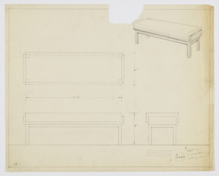 Drawing, Bench: Wood, Upholstered, 1929–1934