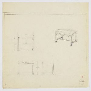 Drawing, Stool, Wood, Upholstered, 1929–1939