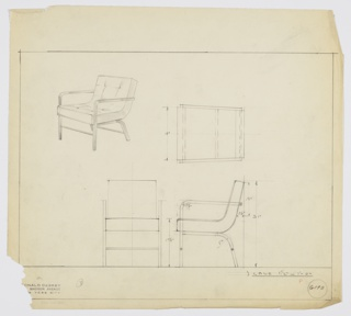 Design for upholstered armchair shown in perspective, plan and elevations. Square metal tube frame, possibly in Metallon, with upright front legs and angled rear ones supports continuous, tufted seat and back cushion. Inscribed with Deskey No. 6190.
