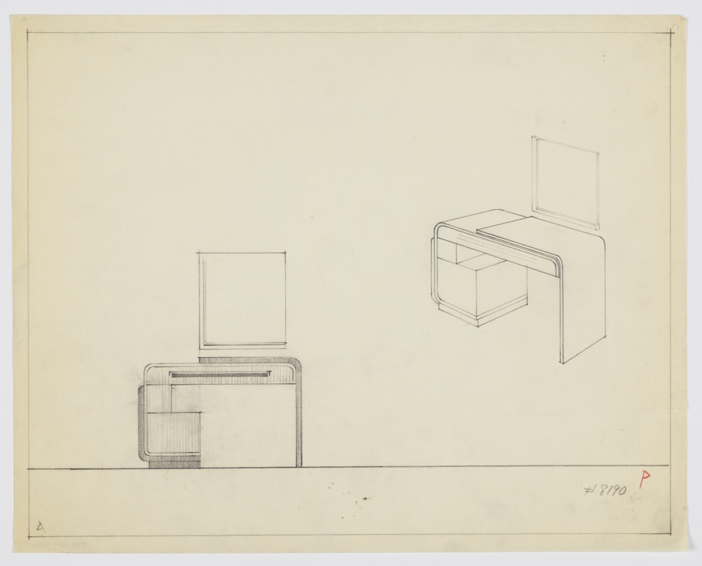 Drawing, Design for Vanity with Rectangular Mirror, ca. 1934