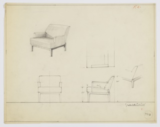 Drawing, Armchair, Wood, Upholstered, 1930–1934