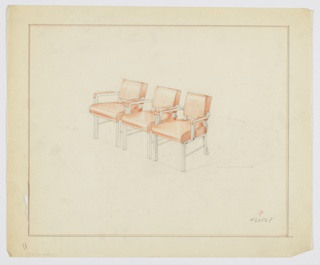 Drawing, Armchairs: Interlocked, Metal, ca. 1934