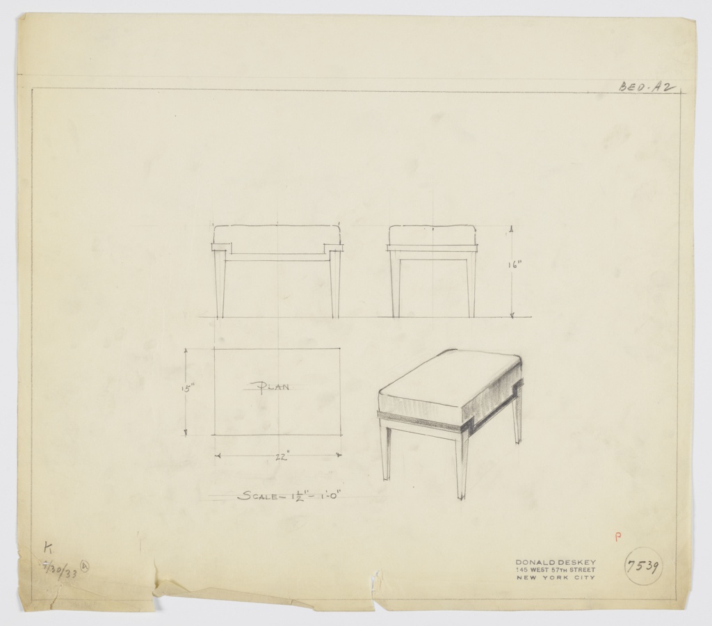 Drawing, Stool, Wood, Upholstered