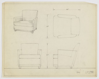 Drawing, Armchair, Wood, Upholstered, 1929–1934