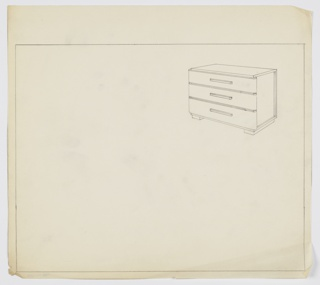 Three-drawer wide chest on left and right bases. Long narrow pulls, centered, one per drawer.