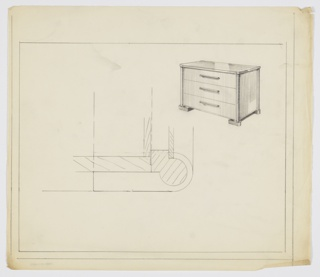 Three-drawer chest on heavy side bases/legs; horizontal pulls, centered, one to each drawer.