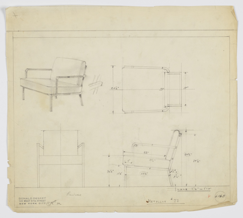 Design for upholstered armchair seen in perspective, plan, and elevations. Square metal tube frame with upright front legs and angled rear legs supports upholstered seat and back cushions. Arms in metal gently curve inward at rear where they affix to seatback. Inscribed with Deskey No. 6168 and Metallon No. 33.