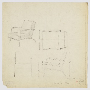 Design for upholstered armchair shown in perspective, plan, and elevations. Tubular metal frame with upright front legs that angle rearward to serve as arms; accented with curved armrests. Rear legs arc downward and extend forward to support upholstered cushion; backrest also upholstered cushion; both are loose. Inscribed with Deskey No. 6343.