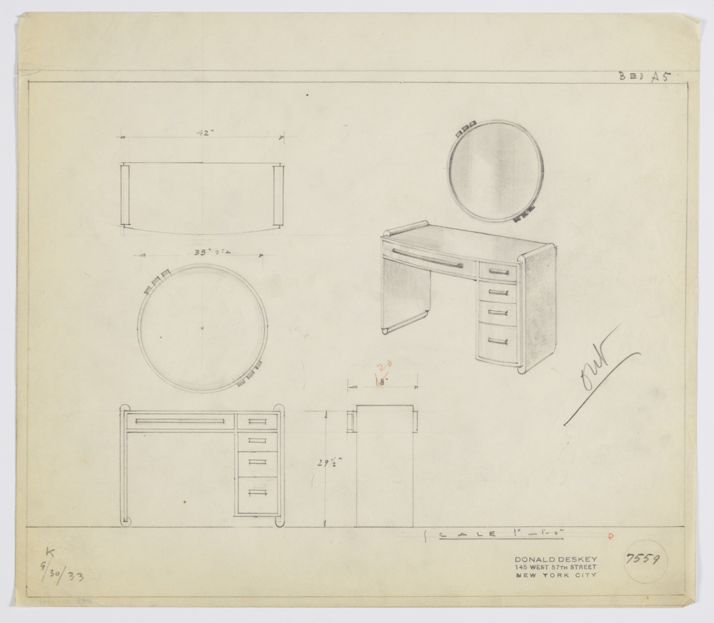 Drawing, Design for Vanity with Mirror