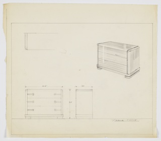 """Scale: 1""""-1'  Three-drawer chest with horizantal pulls, left and right, one set per drawer. Also: shaded version."""