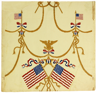 Patriotic paper with matching sidewall and frieze on light yellow-green ground. a) Frieze contains large American flag in center, surrounded by banderole, rope swags, eagle with pendent star medal. Also shown are an anchor and sword. A band of diamond trellis runs across bottom fourth of frieze. b) Sidewall contains small and medium size American flags, eagles with pendent star medal, rope swags and banderoles. Printed on ribbed paper.